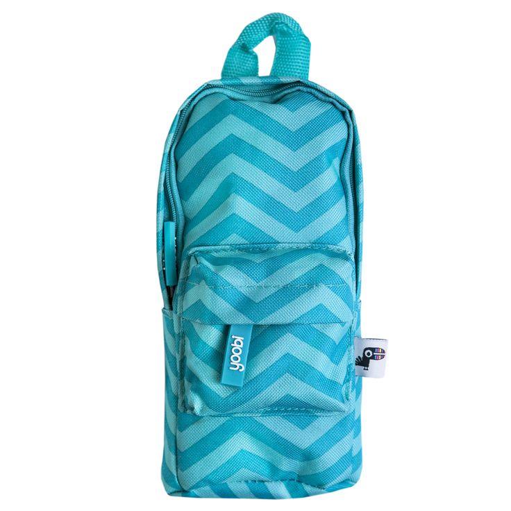 Backpack Pencil Case - Aqua Chevron