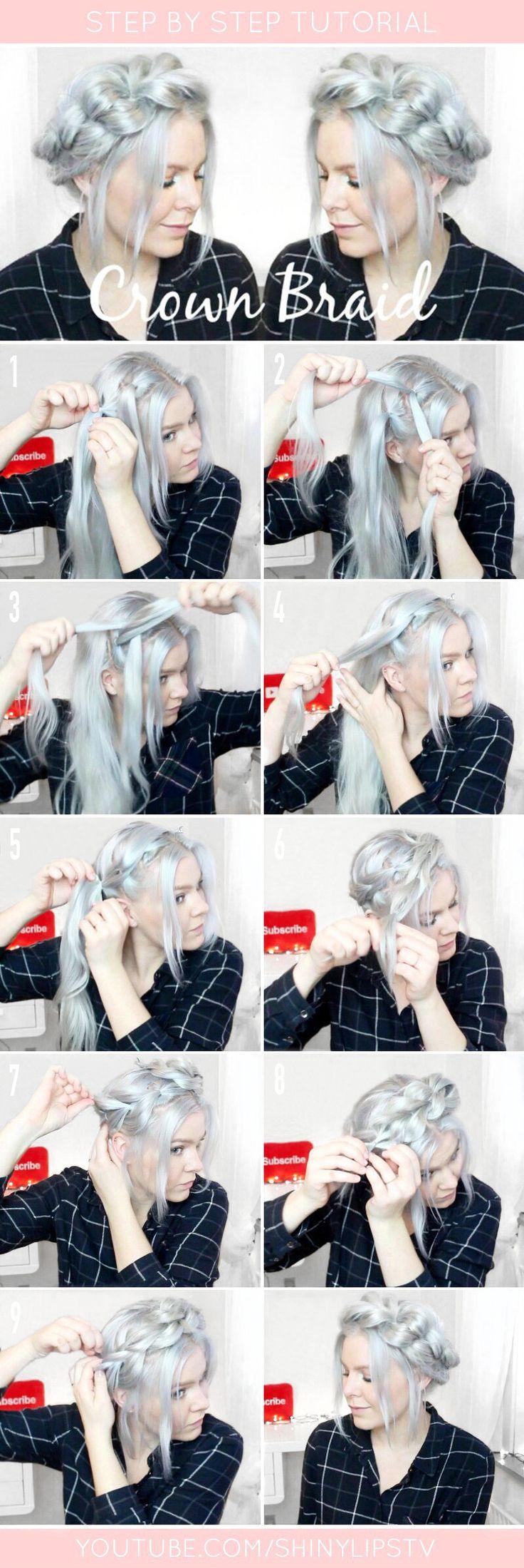 Pull through crown braid step by step #Hairstyles #Braid #Crownbraid #pullthroughbraid