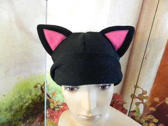 Cat Cap black pink Gothic Anime Kawaii Punk Rock Costume Beanie