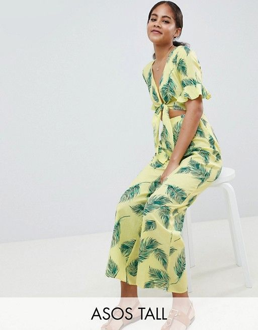 635951f806b DESIGN Tall jumpsuit with cut out and tie detail in linen leaf print in  2018