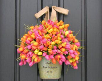 Spring Tulips Farmhouse Tulips XL Front Door door twoinspireyou