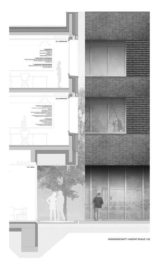 Fassadenschnitt, Ansicht Schule M 1:20