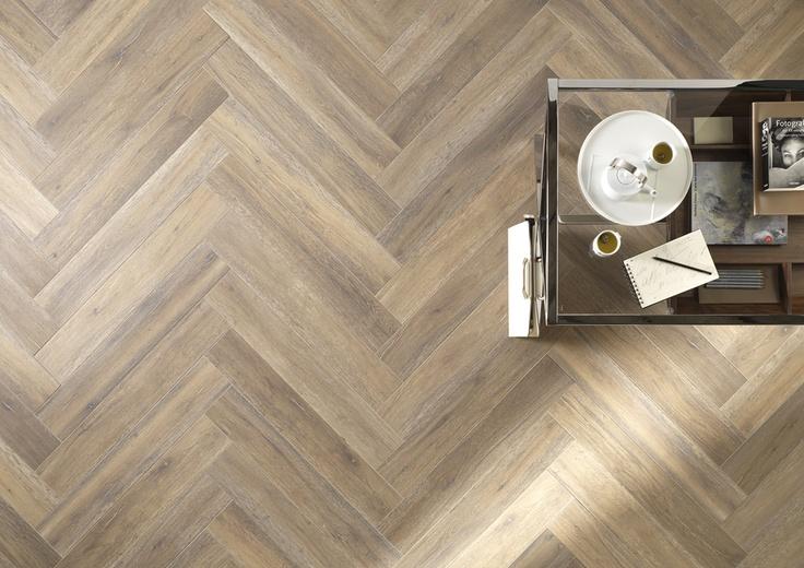 Listone D by Impronta // wood inspired porcelain tiles in a cool herringbone pattern