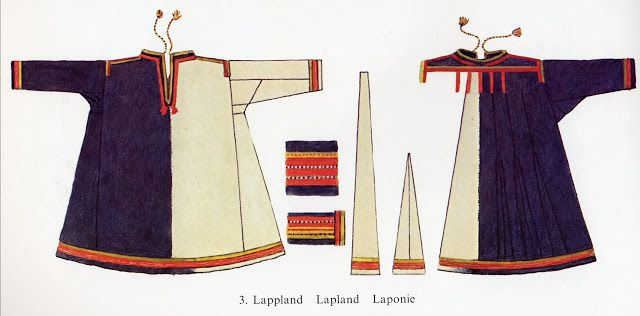 This is a modern Saami woman's garment from 'Tornelappmark', which is an old name for far northern Sweden. Note the similarities to the Viking Age Norse clothing.