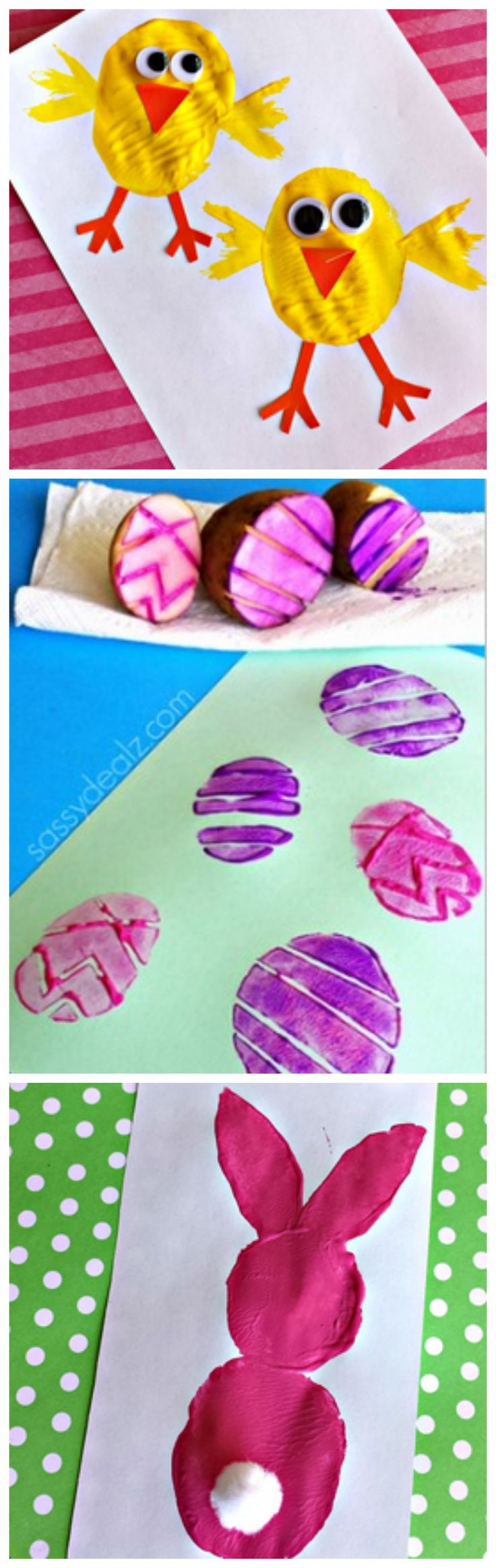 Potato Stamping Craft Ideas (Chick, Easter Eggs, Bunny) Cute Easter crafts for kids + tons more!