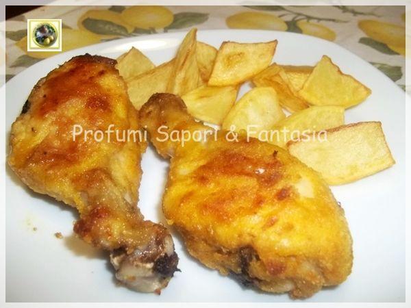Cosce di pollo fritte al forno