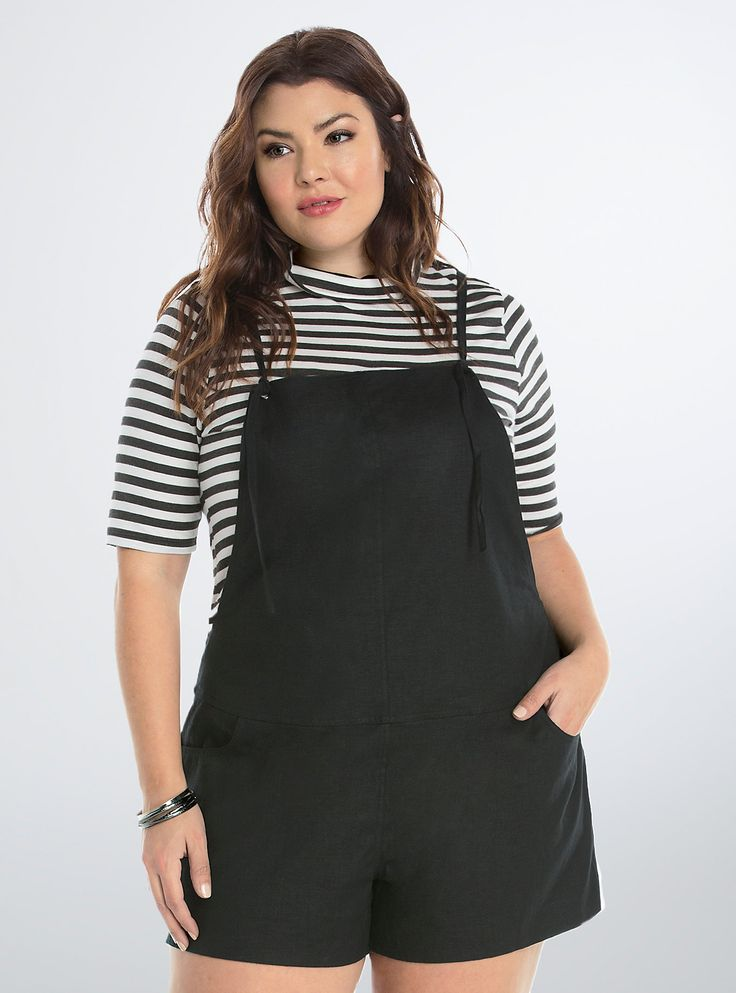 """<p>Overall, these overalls are definitely going to be the most unique thing you own this spring. Black linen lends a loose and lightweight fit. The smock front sports cute adjustable ties that lead to a sexy v-back. Front and back pockets.</p>  <p></p>  <p><b>Model is 5'9"""", size 1</b></p>  <ul> <li>Size 1 measures 3 1/2"""" inseam</li> <li>Polyester</li> <li>Wash cold, line dry</li> <li>Imported plus size overalls</li> </ul>"""