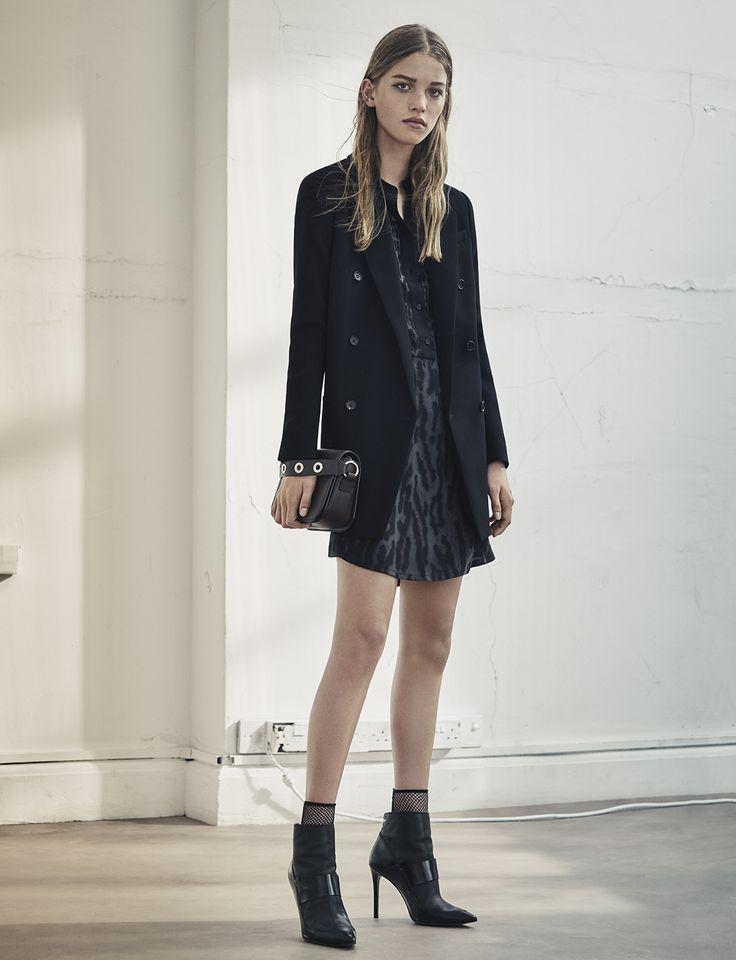 AllSaints Women's September Lookbook Look 7: Sanko Sinai Dress, Arya Blazer, Ikuya Clutch, Xavier Boots