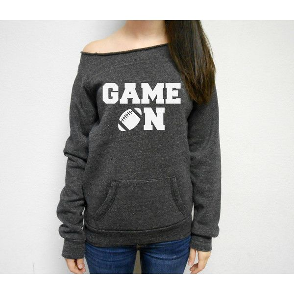 Game on Sweatshirt Football Season Game Day Off Shoulder Sweater... ($37) ❤ liked on Polyvore featuring tops, hoodies, sweatshirts, purple, women's clothing, purple top, off-the-shoulder sweatshirt, thick hoodie, off the shoulder sweatshirt and thick hoodies