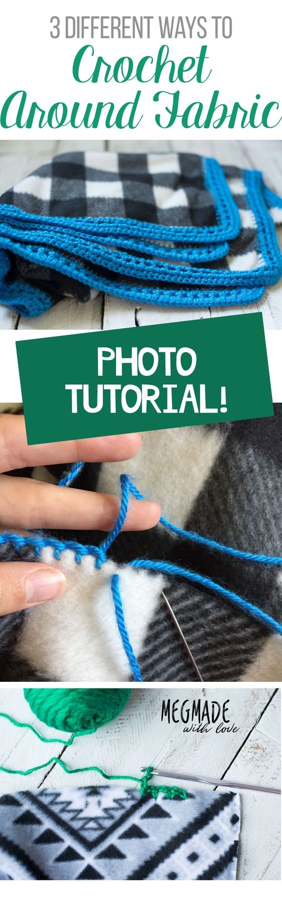 If you've ever wondered how to crochet around fabric, I've got THREE different ways to do it in my latest blog post jam-packed with lots of photos! P.S. Speaking from experience, crocheting around a square of fleece makes a great baby shower gift-- fast and quick and you still get that &qu