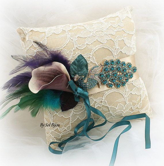 ******Made Upon Request  This peacock wedding ring pillow is just…