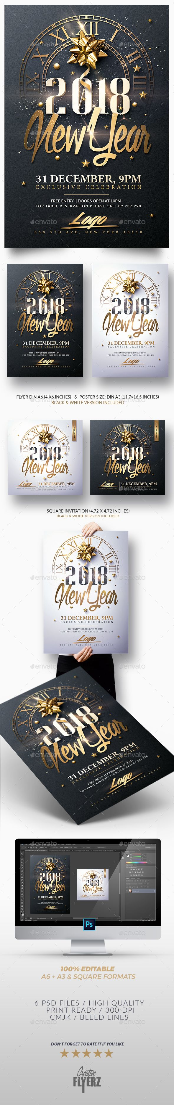 #New Year Invitation - Psd #Package - Print Templates