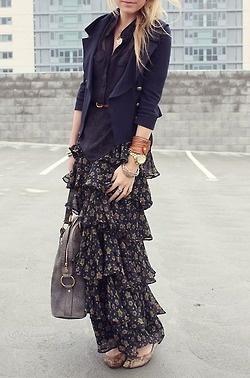 Ralph Lauren long silk skirt w/ navy blazer & stacked gold bracelets, LOVE