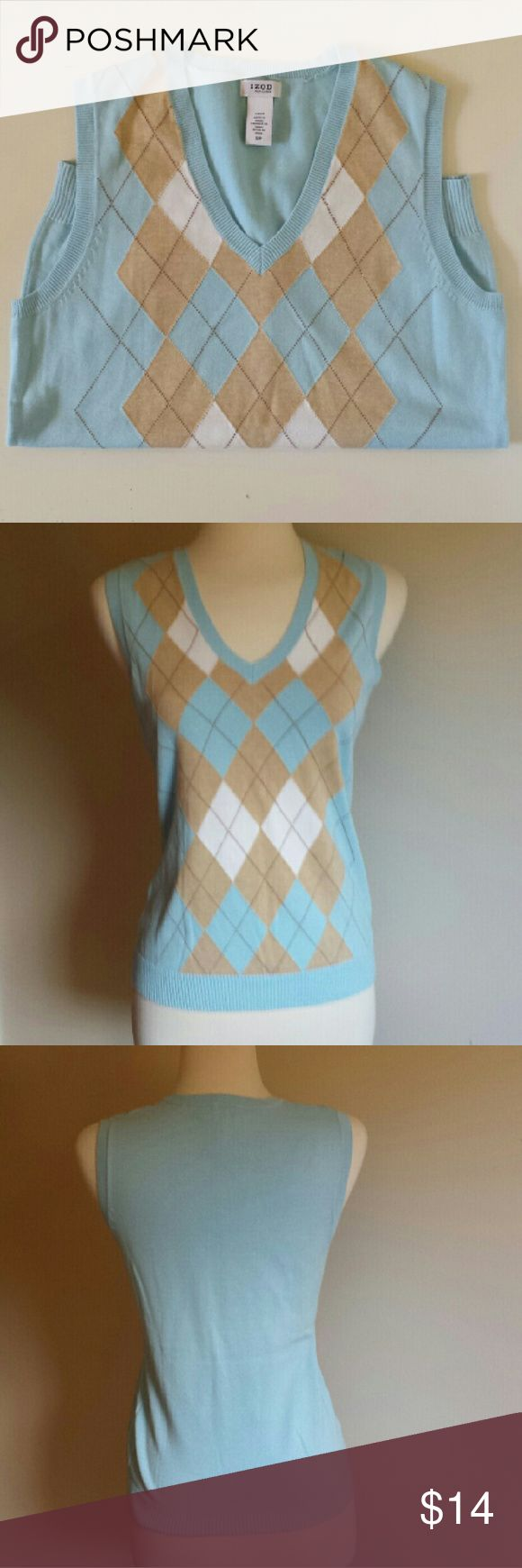Women's IZOD Golf Baby Blue Sweater Vest Tank Cute and light baby blue argyle sweater vest is great as a sophisticated layer or fun and breezy as a tank.  Complimentary tan and white diamond argyle weave in a very soft cotton blend. No flaws, absolutely life new! Izod Sweaters V-Necks