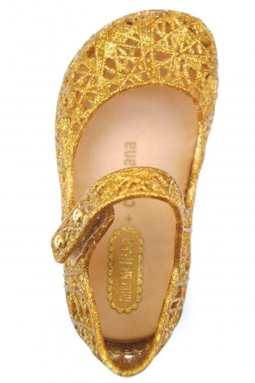 Mini Melissa + Campana Zig Zag Gold Glitter Shoes