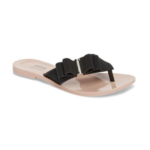 Women's Melissa + Jason Wu Girl Bow Flip Flop (€66) ❤ liked on Polyvore featuring shoes, sandals, flip flops, black pink, pink flip flops, melissa flip flops, bow flip flops, melissa sandals and strap sandals