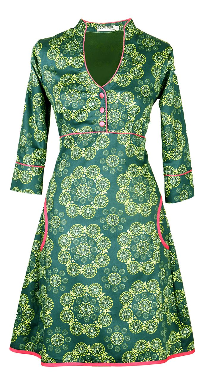 YVONNE - GREEN. DRESS IN ORGANIC COTTON SATEEN  The dress is made from 100% organic cotton sateen [GOTS-certified] with an elasticated panel and sash ties at the back. The dress has many fine details such as puckets with fine piping that ties in with the sash at the waist, edging, neckline and on the fabric-covered buttons. http://ecouture.dk/kleider-1/yvonne-green.html?___store=gb&___from_store=gb