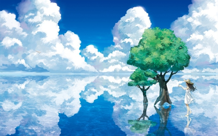 water paintings clouds landscapes trees mirror fantasy art