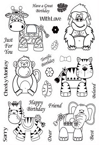 Kanban Crafts - Wobblers Collection - Clear Acrylic Stamps - Jungle