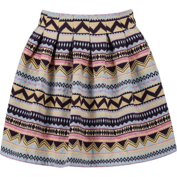 Tribal Print Flare Skirt ($9.99) ❤ liked on Polyvore featuring skirts, bottoms, saias, faldas, multi, patterned skater skirt, pattern skirt, short circle skirt, flared skirt and flare skirt