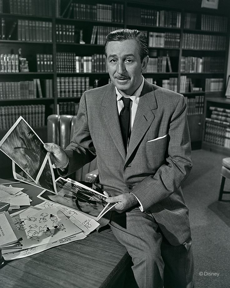 """1955 Walt Disney poses for a studio publicity photo during the production of the Disneyland television series episode, """"The Story of the Silly Symphony"""" (1955). IMAGE: DISNEY ENTERPRISES, INC."""