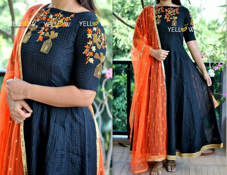BIRD CAGE DRESS in irrestitable combination of black and orange . Kindly whatsapp @ 7995038888 for placing Orders ! 08 November 2017