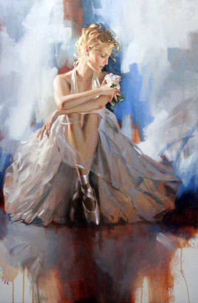 Prelude to the Dance by Richard Johnson (Oil on canvas 36in x 24in) - I love the background, especially the floor - it almost looks like watercolour with the thinned oil paint he used.