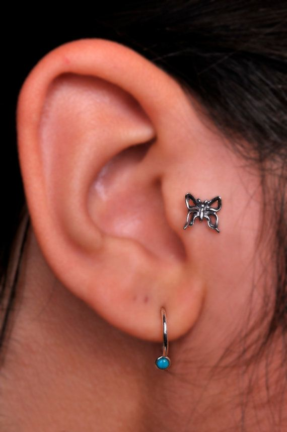 Butterfly / TRAGUS /  Cartilage stud / by BensJewelryCreations, $12.95