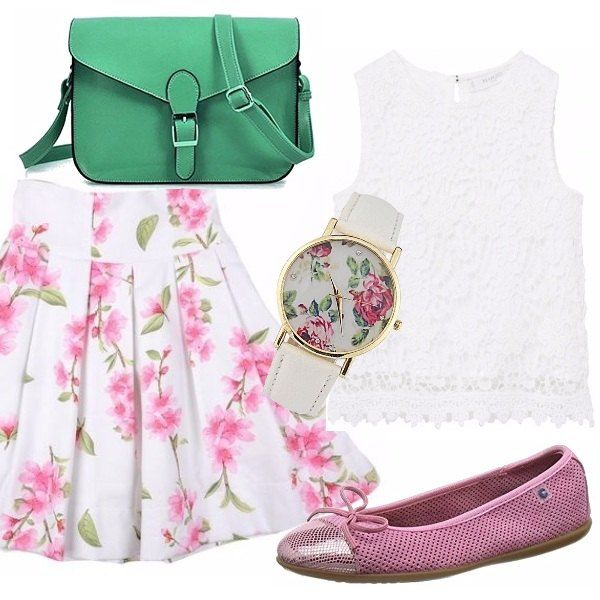 Un outfit davvero grazioso e dai colori delicati. Gonna bianca con fantasia di fiori rosa, top bianco in pizzo. Ballerina rosa con lavorazione a rete. Borsetta verde prato con tracolla. Orologio con cinturino bianco e fiori rosa nel quadrante.