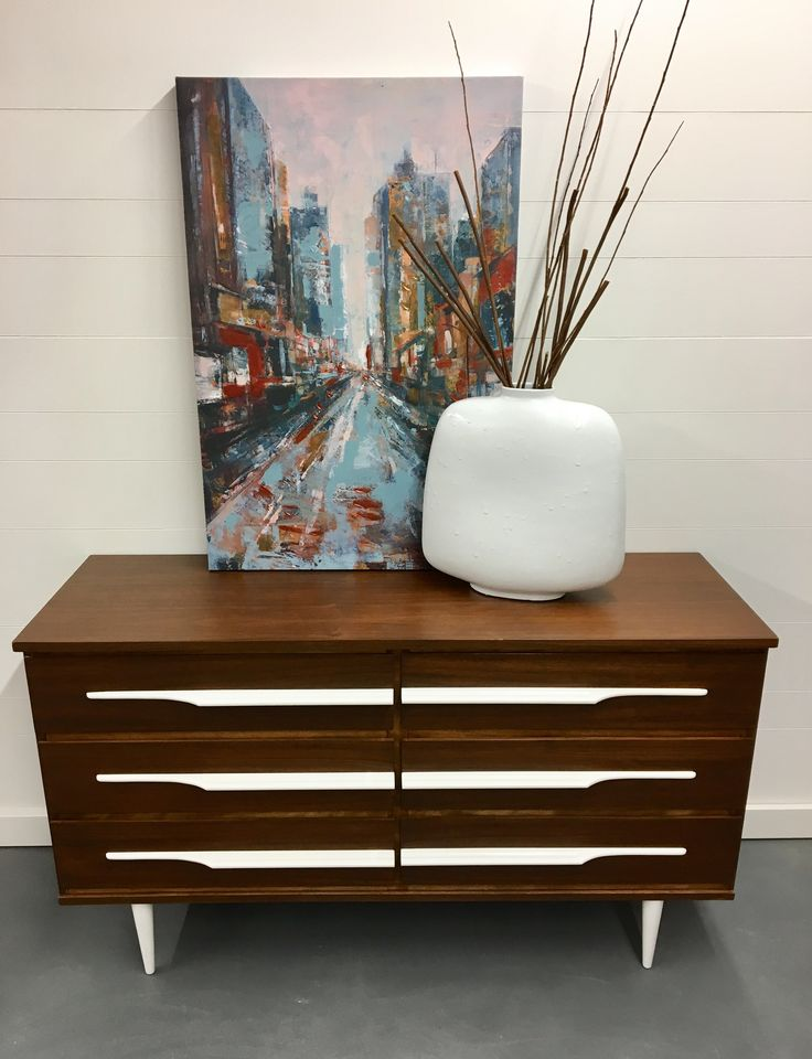 Walnut Mcm With White Accents Creates A Classic But