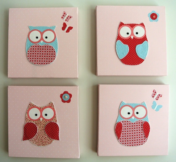 Handmade owl canvas baby or girl room decor picture wall decal kids bedroom childrens nursery - Girl owl decor ...