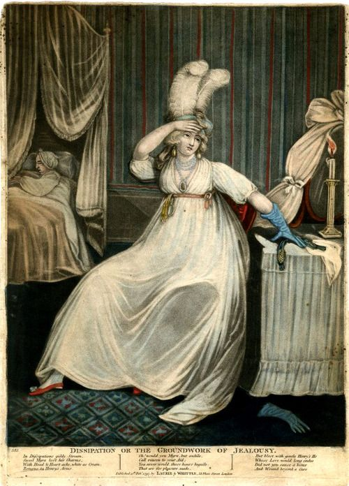 """""""Dissipation or the Groundwork of Jealousy"""", 1797. red shoes, heavy jewelry, long colored gloves, feathered headdress"""