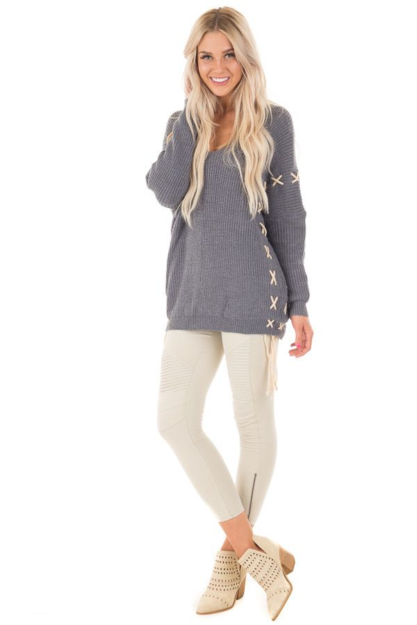 Lime Lush Boutique - Slate Blue Sweater with Khaki Lace Up Details, $19.95 (https://www.limelush.com/slate-blue-sweater-with-khaki-lace-up-details/)