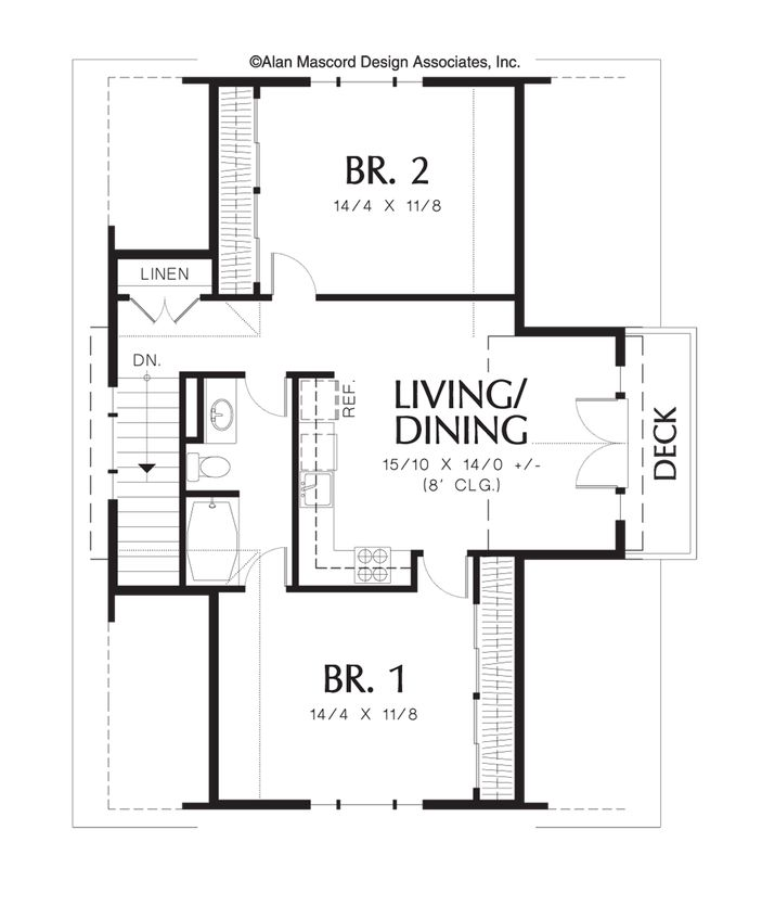 Delightful 2 Bedroom Carriage House Plans #9: Two Bedroom Apartment Above Garage. Plan 5016 The Athena Is A 908 SqFt  Carriageu2026