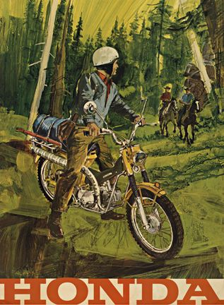 Vintage Advertising Poster For Honda Motorcycles