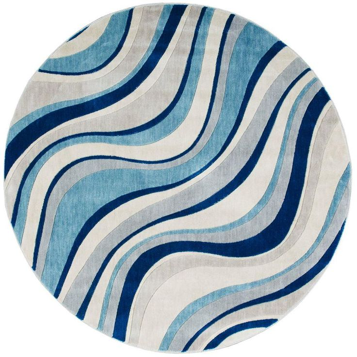 Somerset Ivory/Blue 5 ft. 6 in. x 5 ft. 6 in. Round Area Rug