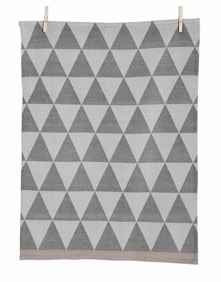 Ferm Living Mountain tè tovagliolo del cotone, grigio, 50x70cm