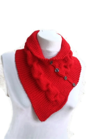 Trendy,chic and cozy cowl is handknitted with warm and soft wool acrylic . It is completed with matching colored buttons.It feels very soft and ple...