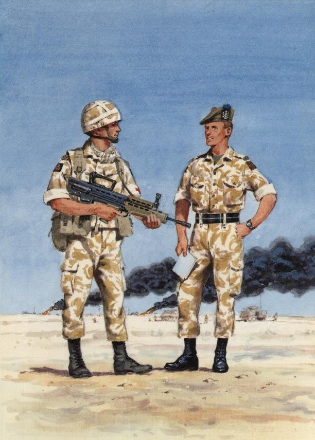 Queens Own Highlanders in the Gulf 1991. Painting by Douglas N. Anderson