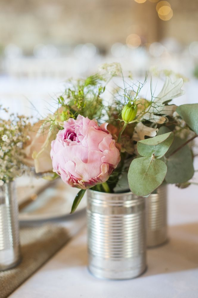 Pink Peonies in Tin Cans | Grittenham Barn | Source Images | http://www.rockmywedding.co.uk/sarah-oli/