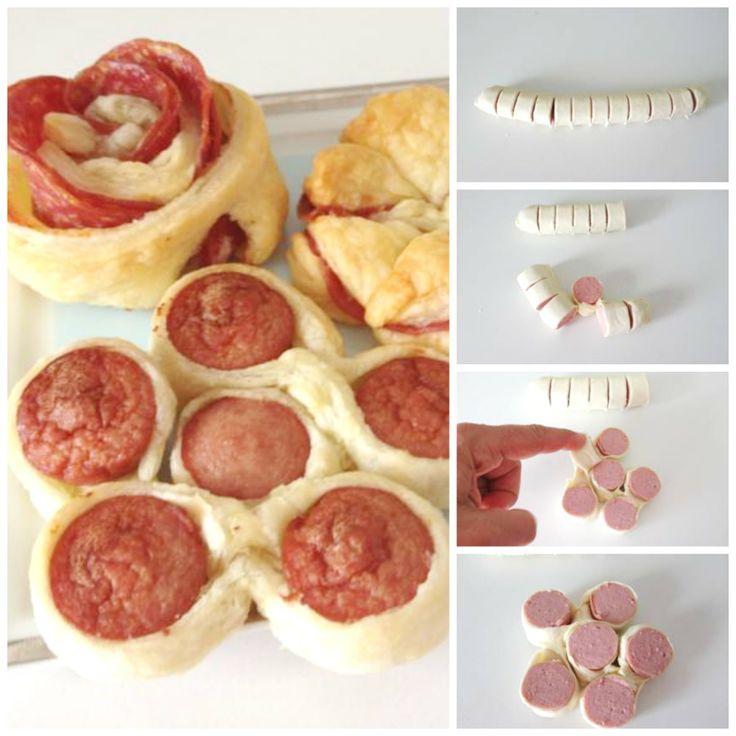 Fiori di pasta sfoglia e wurstel. Puff pastry flower and sausage