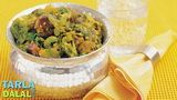 Oondhiya, a classic gujarati recipe, of vegetables and fenugreek dumplings cooked in an aromatic blend of spices.