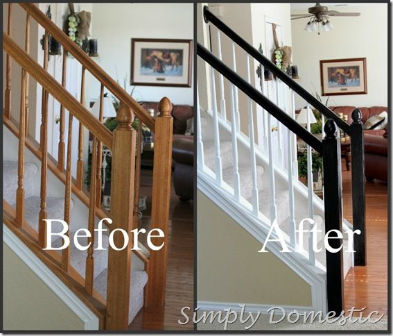 another version of two toned banister.  I have so much black wood in my home that I think this could work.