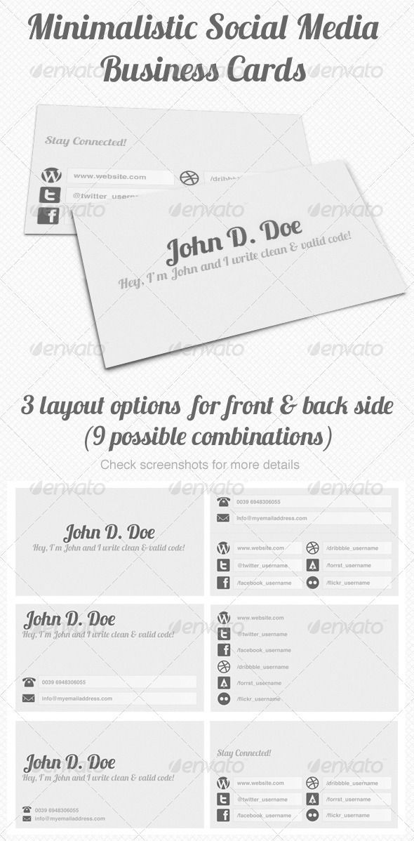 96 best print templates images on pinterest print templates minimal social networking business card graphicriver this is a nice and stylish minimal business card reheart Image collections