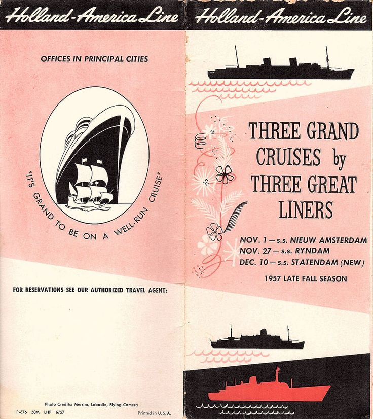 "Visit Pearls of Wisdom's Book Store! is offering....   "" A 1957 FOLD OUT BROCHURE FROM HOLLAND AMERICAN LINES INFORMING VACATIONERS OF THREE LATE FALL CRUISES ON THE SS NIEUW AMSTERDAM, THE SS STATEDAM, OR THE S.S. RYNDAM  ""  Red, black and white soft cover fold out brochure issued by Holland American Lines for the late fall season 1957.  Unfolds to 24 panels (12 on each side) .   Provides the vacationer with information on three Holland America cruises in the late fall of 1957. Contains…"