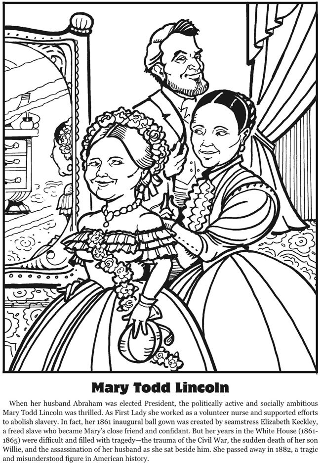 First Ladies Fascinating Facts Coloring Book Dover