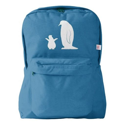 Penguins: Mother and Chick American Apparel Backpack. Perfect baby or toddler bag!