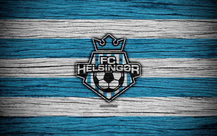 Download wallpapers Helsingor, 4k, football, Danish Superliga, soccer, Denmark, Helsingor FC, creative, logo, wooden texture, football club, FC Helsingor