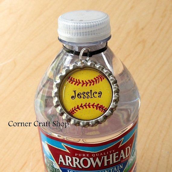 1 Personalized Name Softball Team Bottle Cap  by cornercraftshop