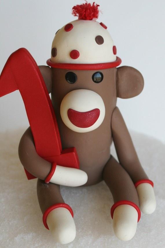 Sock monkey cake topper (non-toxic clay) - SpiritMama.etsy.com